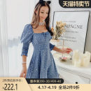 Dress Spring 2020 Gray blue S M L XL Short skirt singleton  three quarter sleeve Sweet square neck High waist Socket Big swing bishop sleeve 25-29 years old Type X Big pink doll bow More than 95% polyester fiber Polyester 100% princess