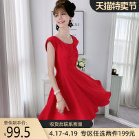Dress Summer of 2018 Bright red S M L XL Short skirt singleton  Short sleeve Sweet Crew neck High waist Solid color Socket A-line skirt routine 25-29 years old Type A Big pink doll Button More than 95% other polyester fiber Polyester 100% Ruili