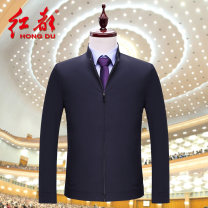Jacket Hongdu Business gentleman 170/88A/M 175/92A/L 180/96A/XL 185/100A/XXL 190/104A/XXXL 195/108A/XXXXL routine standard go to work Polyester 100% Long sleeves Wear out stand collar Business Casual middle age routine Zipper placket Cloth hem Loose cuff Solid color Spring 2021 Zipper decoration