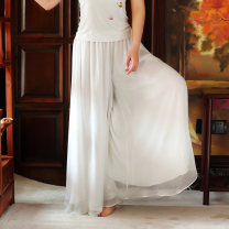 Casual pants White, pure black S,M,L,XL Spring 2017 trousers Wide leg pants Natural waist original Thin money 71% (inclusive) - 80% (inclusive) K3403 Start to read silk