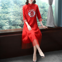 Dress Spring 2021 gules M,L,XL longuette singleton  three quarter sleeve commute stand collar Loose waist Solid color other A-line skirt routine Others 40-49 years old Type A Yijin Tang ethnic style Embroidery, buttons OG-186619 More than 95% organza  cotton
