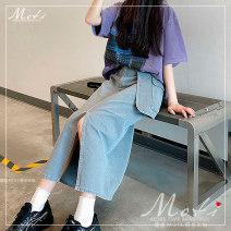 skirt Autumn 2020 S,M,L Denim blue Mid length dress High waist Irregular 18-24 years old Denim