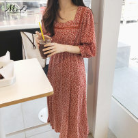 Dress Summer of 2019 gules S,M,L,XL Mid length dress singleton  Short sleeve commute square neck High waist Broken flowers Socket Others 18-24 years old Other / other Retro HC-#9058 81% (inclusive) - 90% (inclusive) Chiffon