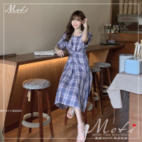 Dress Summer of 2019 Blue, yellow S,M,L,XL Mid length dress singleton  Short sleeve commute square neck High waist lattice Socket Others 18-24 years old Other / other 2000# 71% (inclusive) - 80% (inclusive) cotton