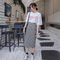 skirt Spring of 2019 S,M,L,XL Black and white Mid length dress commute High waist High waist skirt lattice Type A 18-24 years old 9016# other Other / other other Korean version