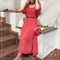 Dress Summer of 2019 Red, yellow S,M,L,XL Mid length dress singleton  elbow sleeve commute square neck High waist Dot Socket other bishop sleeve Others 18-24 years old Other / other Korean version G 81% (inclusive) - 90% (inclusive) Chiffon