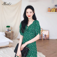 Dress Summer of 2019 green S,M,L,XL Short skirt singleton  Short sleeve commute V-neck High waist Broken flowers Others 18-24 years old Type A Other / other Retro fold XL-1699 71% (inclusive) - 80% (inclusive) Chiffon