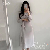Dress Autumn 2020 Apricot, light grey, black S,M,L,XL Mid length dress singleton  Long sleeves 18-24 years old