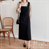 Dress Autumn 2020 Apricot top, black dress S,M,L,XL Mid length dress singleton  Long sleeves commute Crew neck High waist Solid color straps 18-24 years old Korean version 3085+3086 81% (inclusive) - 90% (inclusive)