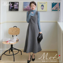 Dress Autumn 2020 Grey vest skirt with fog blue background S. M, l, XL, one size fits all longuette Sleeveless commute High waist Big swing straps 18-24 years old Other / other Korean version 2050#+3050#