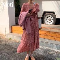 Dress Spring 2021 Pink flower, apricot flower Average size Mid length dress singleton  Long sleeves commute V-neck High waist Others 18-24 years old Korean version 9165#