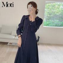 Dress Spring 2021 White, Navy S,M,L,XL Mid length dress singleton  Long sleeves 18-24 years old