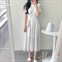 Dress Summer 2020 white S,M,L,XL Mid length dress singleton  Short sleeve commute Crew neck High waist Solid color 18-24 years old Korean version 2006#