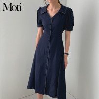 Dress Summer 2021 Dark blue, white S,M,L Mid length dress singleton  Short sleeve commute V-neck High waist Solid color Single breasted other routine Others 18-24 years old Type H 31% (inclusive) - 50% (inclusive) other cotton