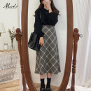 skirt Spring of 2019 S,M,L,XL Gray, blue Mid length dress commute High waist other lattice Type A 18-24 years old 6088# 30% and below Wool Other / other other Korean version