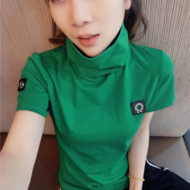 T-shirt Black, white, green, yellow, red M,L,XL,2XL Autumn 2021 Short sleeve stand collar Self cultivation Regular routine commute other 51% (inclusive) - 70% (inclusive) Korean version