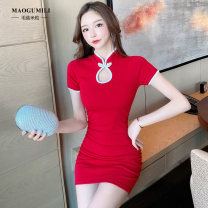 Dress Summer 2021 Black, red, pink S,M,L,XL Short skirt singleton  Sleeveless commute stand collar middle-waisted Solid color Socket One pace skirt other Others 18-24 years old Type H Mushroom and rice Korean version frog  81% (inclusive) - 90% (inclusive) other cotton