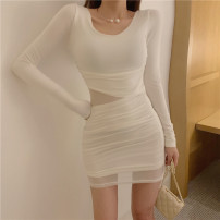 Dress Autumn of 2019 White, black S, M Middle-skirt Long sleeves Crew neck Socket Other / other