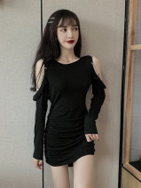 Dress Autumn 2020 White, black S,M,L,XL Short skirt singleton  Long sleeves commute Crew neck High waist Solid color Socket One pace skirt routine 18-24 years old T-type Retro fold 31% (inclusive) - 50% (inclusive) brocade polyester fiber