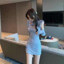Dress Autumn 2020 wathet S,M,L Short skirt Two piece set Long sleeves commute stand collar High waist Solid color 18-24 years old Type X 81% (inclusive) - 90% (inclusive)