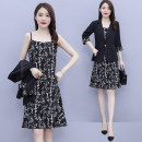 Dress Summer 2020 black L,XL,2XL,3XL,4XL,5XL Middle-skirt Two piece set three quarter sleeve commute tailored collar middle-waisted Broken flowers Socket A-line skirt routine camisole 35-39 years old Type A Egarou Ol style pocket Y62831 91% (inclusive) - 95% (inclusive) other polyester fiber