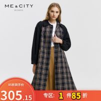 Windbreaker Autumn of 2019 155/80A,160/84A,165/88A,170/92A Large yellow check Long sleeves routine Medium length commute Single breasted Half high collar Wrap sleeves lattice Straight cylinder Korean version Me&City 25-29 years old Splicing 96% and above cotton cotton cotton