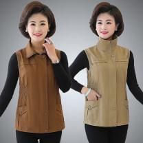 Vest Autumn 2020 XL,2XL,3XL,4XL,5XL routine square neck Versatile Solid color zipper Oblique shoulder 40-49 years old 31% (inclusive) - 50% (inclusive) spandex polyester cotton