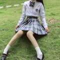 skirt Autumn 2020 S,M,L,XL Short skirt Versatile High waist Pleated skirt lattice Type A 18-24 years old