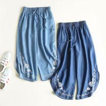 Casual pants Light blue, dark blue S,M,L Summer 2021 Ninth pants Wide leg pants High waist commute Korean version