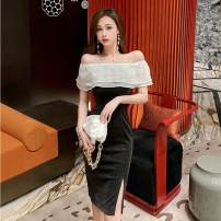 Dress Summer 2021 black S,M,L longuette singleton  Short sleeve commute One word collar middle-waisted Solid color zipper other Lotus leaf sleeve Others 18-24 years old Type H 31% (inclusive) - 50% (inclusive) other polyester fiber