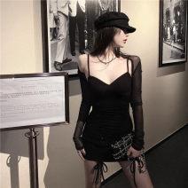 Dress Autumn 2020 85343 super short black cardigan, 8534 super Sao suspender black skirt Average size singleton  Sweet camisole 30% and below other