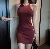 Dress Summer 2020 Red, green, black Average size Middle-skirt singleton  Sleeveless Hanging neck style