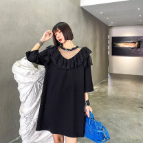Dress Summer 2021 M,L,XL Mid length dress singleton  Short sleeve street Crew neck Loose waist Solid color Socket other routine Others 25-29 years old Type H Stitching, mesh, lace 8510# Europe and America