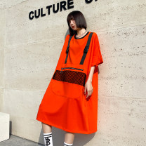 Dress Summer 2021 Energy orange, classic black Average size Mid length dress singleton  Short sleeve street Crew neck Loose waist Solid color Socket other routine Others 25-29 years old Type H Stitching, mesh, zipper 123# 51% (inclusive) - 70% (inclusive) other Europe and America