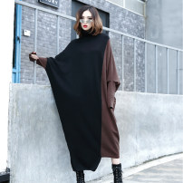 Dress Spring 2021 Black with grey, black with coffee Average size longuette singleton  Long sleeves street High collar Loose waist Socket Bat sleeve 25-29 years old Type O Splicing 18232# other Europe and America