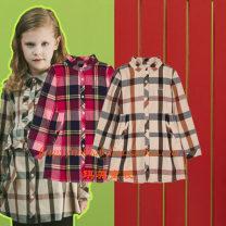 Dress Khaki, Burgundy female Other / other 110cm,120cm,130cm,145cm,155cm,165cm Polyester 64% viscose 36% spring and autumn Britain Long sleeves lattice Splicing style