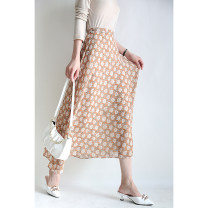 skirt Spring 2021 S,M,L Light coffee in stock, black in stock longuette Retro High waist Umbrella skirt Decor More than 95% other Special clothes other