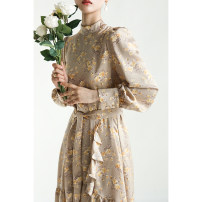 Dress Spring 2021 Beige spot, black spot S,M,L Middle-skirt singleton  Long sleeves commute stand collar Decor A button puff sleeve Special clothes Retro More than 95% other other