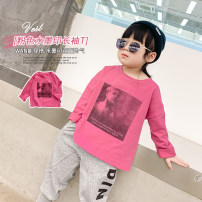 T-shirt Pink, pink- DDJ BIBI 90cm,100cm,110cm,120cm,130cm,140cm,150cm neutral spring and autumn cotton printing 12 months, 18 months, 2 years old, 3 years old, 4 years old, 5 years old, 6 years old, 7 years old, 8 years old, 9 years old, 10 years old, 11 years old