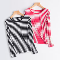 T-shirt M L XL XXL Spring of 2018 Long sleeves Crew neck Self cultivation Regular routine Viscose 86% (inclusive) -95% (inclusive) Thin horizontal stripe Love Yang Yang Viscose fiber (viscose fiber) 95% polyurethane elastic fiber (spandex) 5%