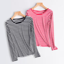 T-shirt M L XL XXL Spring of 2018 Long sleeves Crew neck Self cultivation Regular routine Viscose 86% (inclusive) -95% (inclusive) Thin horizontal stripe Love Yang Yang Viscose fiber (viscose fiber) 95% polyurethane elastic fiber (spandex) 5%