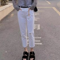 Jeans Summer 2021 Cropped Trousers High waist Straight pants Thin Thin denim light colour 5100178-329961-001 51% (inclusive) - 70% (inclusive) XS 1, s 2, m 3, L 4, XL 5 white