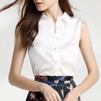 shirt Pearl White XL,L,M,S,XS Summer of 2019 silk 91% (inclusive) - 95% (inclusive) Sleeveless commute Regular stand collar Single row multi button other Solid color Self cultivation MAKEMAGIC Simplicity Pleats, buttons