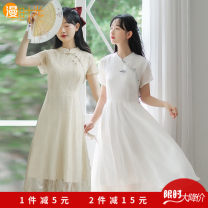 Dress Summer 2021 Qipao skirt 1, Qipao skirt 2, Qipao skirt 3, Qipao Skirt 4, Qipao skirt 5, Qipao Skirt 6, Qipao skirt 7, Qipao Skirt 8 S,M,L,XL Mid length dress singleton  Short sleeve commute other High waist Solid color Socket other other Others 18-24 years old Type A Retro Gauze 6498# other