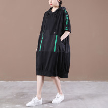 Dress Summer 2021 Black with green, black with orange M,L,XL longuette singleton  Short sleeve commute Crew neck Loose waist letter Socket Big swing routine Others Other / other Korean version zipper Double Zip letter print dress 31% (inclusive) - 50% (inclusive) cotton