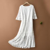 Dress Summer 2020 White, black Mid length dress singleton  Sleeveless Sweet Crew neck Loose waist Solid color Socket A-line skirt Lotus leaf sleeve Type A More than 95% silk Ruili