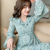 Dress Autumn 2020 blue S,M,L,XL Short skirt singleton  Long sleeves commute V-neck High waist Decor zipper Ruffle Skirt pagoda sleeve Others 25-29 years old Type A Other / other 81% (inclusive) - 90% (inclusive) Chiffon polyester fiber