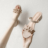 Sandals 34,35,36,37,38,39,40 Apricot, black Suede Keflin Barefoot Thick heel Middle heel (3-5cm) Summer 2021 Trochanter Korean version Solid color Adhesive shoes Youth (18-40 years old) TPR (tendon) daily Ankle strap Low Gang Lateral space Microfiber skin Microfiber skin Flat buckle Frosting