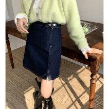 skirt Spring 2021 S (ice size), m, l, XL Denim blue (3-5 days in advance) Short skirt commute High waist A-line skirt Solid color Type A C1030827 More than 95% ekool cotton Button Korean version
