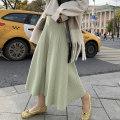 skirt Autumn 2020 M, L Black, cream apricot, melon green Mid length dress commute High waist A-line skirt Solid color Type A 81% (inclusive) - 90% (inclusive) ekool Viscose Korean version